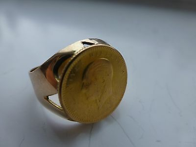 Vintage 18k yellow rose gold Turkey Turkish antique coin 1923 wide band ring
