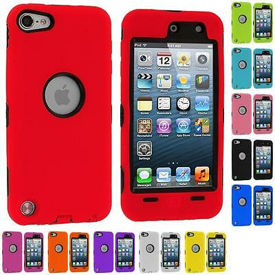 For iPod Touch 5th Generation 5G Case Hybrid Deluxe 3-Piece Cover+Protector
