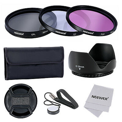 NEEWER 58mm UV+CPL+FLD Filter Kit Set for CANON EOS Rebel ND#17