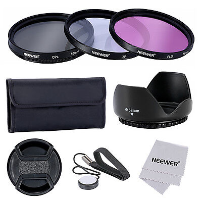 NEEWER 58mm UV CPL FLD Filter Tulip Lens Hood Lens Cap  Kit for CANON