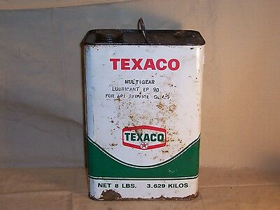 Vintage Texaco Multigear Lubricant 8 Lbs. Can Bucket Gas Oil Advertising Station