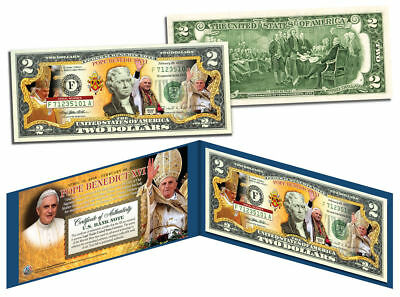 POPE BENEDICT Colorized $2 Bill US Genuine Legal Tender with Folio & Certificate