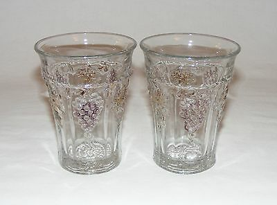 2 ANTIQUE C.1890 Eapg  EARLY AMERICAN  PRESSED GLASS TUMBLER GRAPE & CABLE