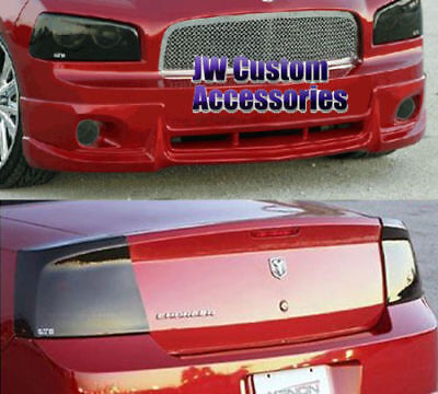 09-10 Charger Acrylic Smoke GTS Headlight Fog Driving Light Taillight Covers 6pc