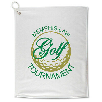 WHITE GOLF TOWELS - 100 quantity - Custom Printed with Your Logo