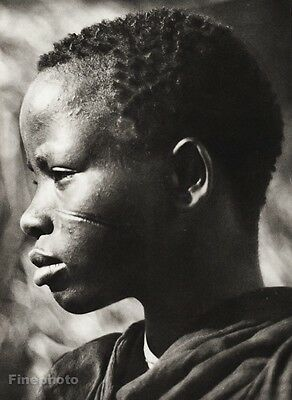 1934 Vintage 11x14 ~ AFRICA ~ Maasai Tribe Native Young Woman Scar Culture Art