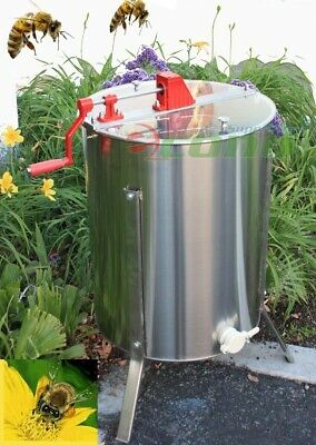 "4 or 8 Frame Manual Bee Honey Extractor 204 Stainless Steel 24"" Drum Tank"