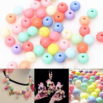 100Pcs Assorted Acrylic Plastic Smooth Round Ball Loose Spacer Beads 8mm DIY New