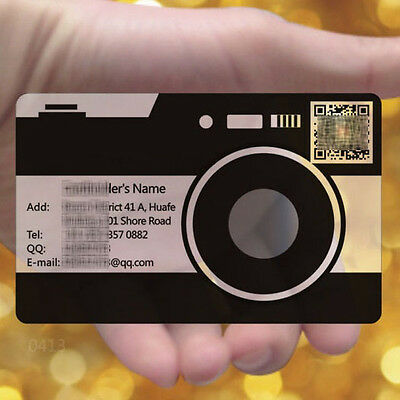 Full Colors Print Camera 200pc Frosted Transparent PVC Plastic Business Cards