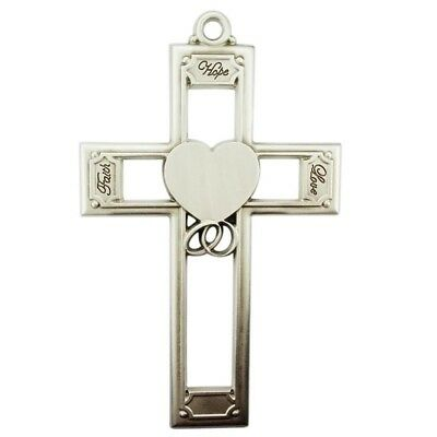 "Hope Faith and Love 6"" Pewter Wedding Wall Cross with Heart & Interlocking Rings"