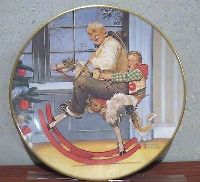 NORMAN ROCKWELL CHRISTMAS - GRANDPA ON A ROCKING HORSE  COLLECTOR'S PLATE - 1976