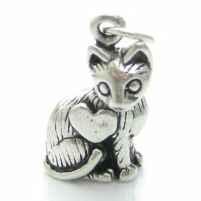 Cat in heart sterling silver charm .925 x 1 Cats pendants charms DKC53111