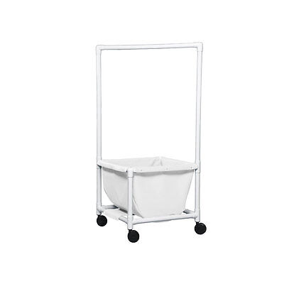 Laundry Hamper with Clothes Rod Mesh White 1 EA