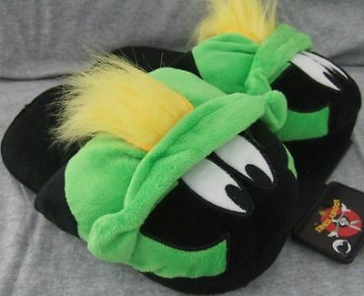 NWT Cute Adult M 7-8 Looney Tunes Marvin the Martian Space Alien Plush Slippers