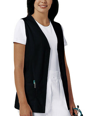 Scrubs Cherokee Womens Button Front Vest 1602 Black  FREE SHIPPING