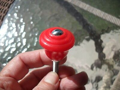 Vtg NOS RED Drawer Knobs Cabinet Door Handles Stair Stepped Face Early Plastic