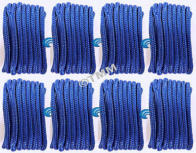 "(8) Blue Double Braided 3/8"" x 20' HQ Boat Dock Anchor Mooring Lines Tow Ropes"