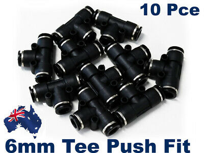 10 X Push Fit 6mm Pneumatic Tee.