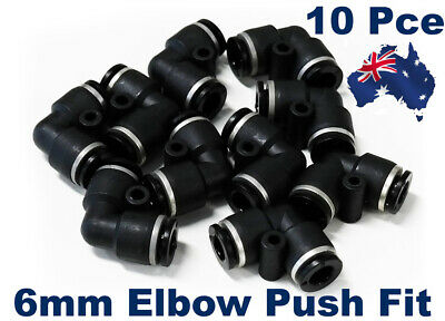 10 X Push Fit 6mm Pneumatic Elbow.