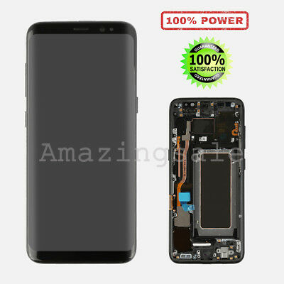 Black LCD Screen & Touch Digitizer Assembly With Frame For Samsung Galaxy S8