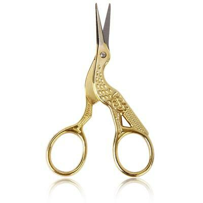 Gold-Plated Stork Needlework Scissors 9cm for Sewing Tailoring Embroidery