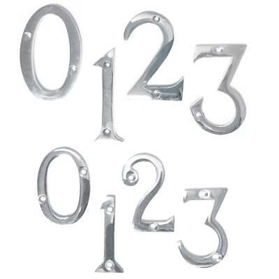 """CHROME DOOR NUMBERS Numeral House Flat Modern Polished Silver 0-9 50 75mm 2"""" 3"""""""