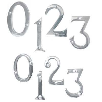 House Numbers Door Numbers Numerals Modern Polished Chrome 50mm or 75mm