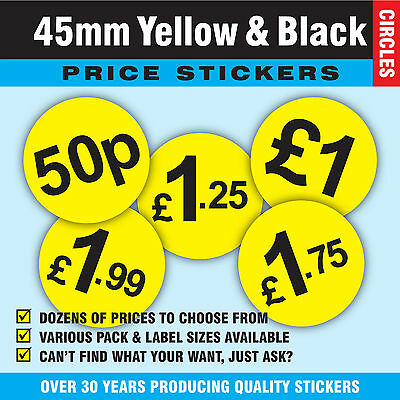 Large 45mm Yellow & Black Price Point Stickers Sticky Labels - Various Prices