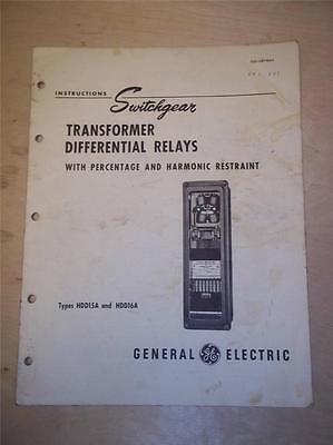 General Electric Manual~Transformer Differential Relays HDD 15A 16A~Switchgear