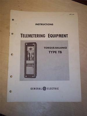 Vtg GE General Electric Manual~Telemetering Equipment Type TB~1950