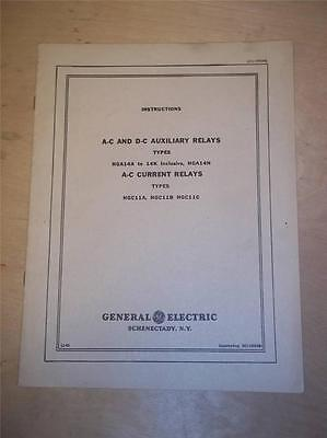 Vtg GE General Electric Manual~A-C D-C Auxiliary Relays HGA14A HGC11B~Switchgear