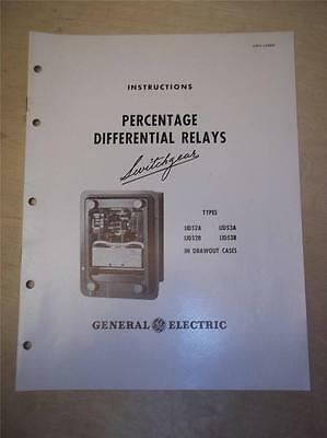 General Electric Manual~Percentage Differential Relay IJD 52 53 A B~Switchgear