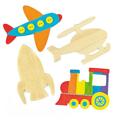 Transport Wooden Shapes for Children to Paint Decorate and Display (Pack of 8)