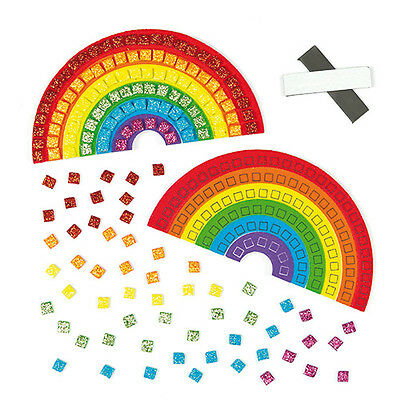 Mosaic Rainbow Foam Magnet Kits for Children to Decorate and Display (Pack of 4)