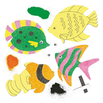 Tropical Fish Sand Art Magnets for Children to Decorate and Display (Pack of 5)