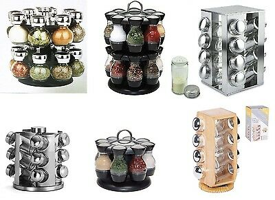 Rotating Revolving Spice Rack Stand Carousel 8, 12, 16 Glass Jars Kitchen Gift
