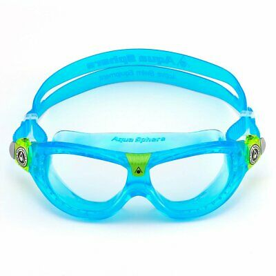 Learn to Swim Goggles BLUE Aqua Sphere SEAL KID Clear Lens Training Mask 175300
