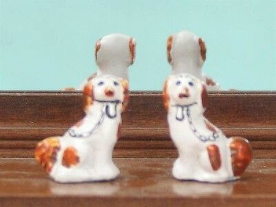 Pair Of Staffordshire Dogs White & Light Brown, Dolls House Miniature, Ornament,