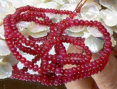 """RARE GENUINE NATURAL UNTREATED RED RUBY BEADs RUBIES 57.5ctw 16"""" STRAND"""