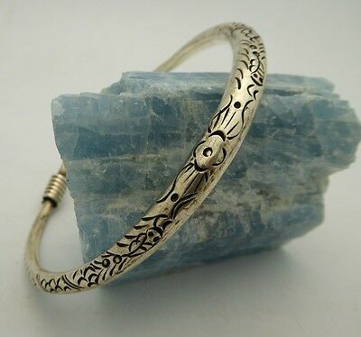 Miao Hill Tribe Handmade Chinese Silver Toned Metal X-Large Bangle Bracelet 9""