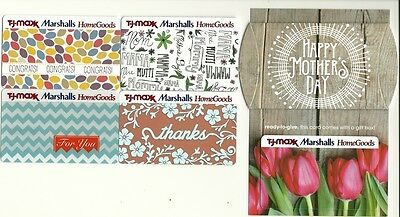 Lot (5) T J Maxx Marshalls HomeGoods Gift Cards No $ Value Collectible