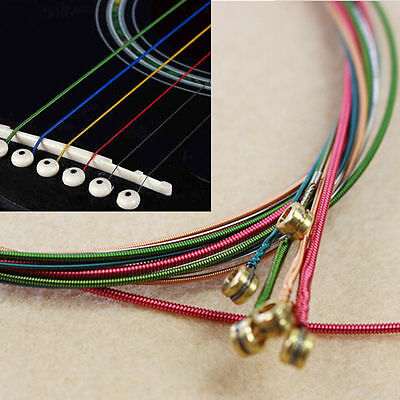 New A Set 6pcs Rainbow Colorful Color Strings For Acoustic Guitar Hot Accessory