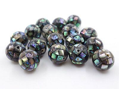 10mm Handmade Abalone shell mosaic ball round loose earrings spacer beads