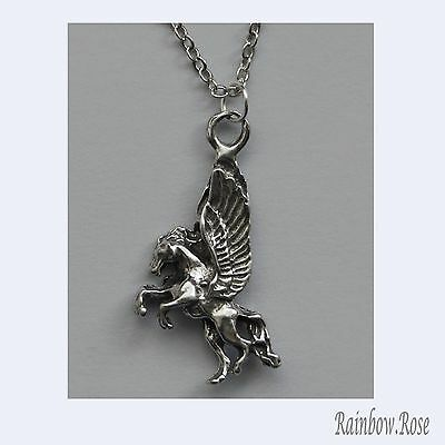 Pewter Necklace on Chain #298 Pegasus 25mm long x 15mm wide