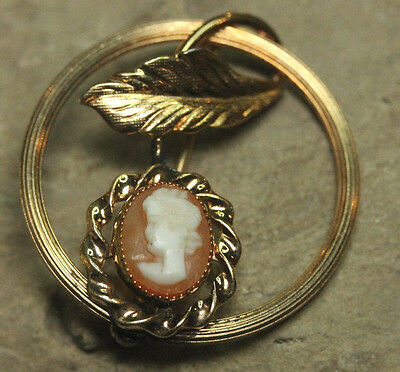 Cameo Vintage Sterling Silver 925 Pin Brooch AM Co. 14k Gold Fill GF Carved