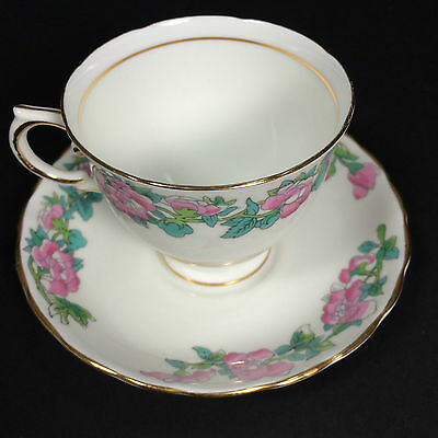 Tuscan Fine English Bone China Tea Cup Saucer Pink Flowers Green Blue leaves