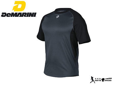 DeMarini WTP9701 Men's Short Sleeve Baseball Softball Shirt Black (Medium)