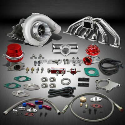 T04 .63Ar 400+Hp Boost 9Pc Turbo Charger+Manifold Kit For Rb20/rb25 Gts Skyline