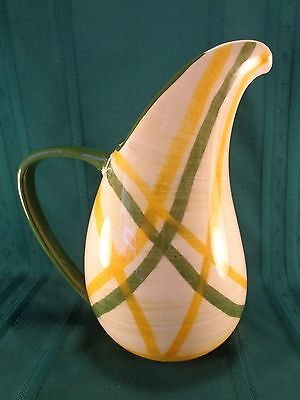 "Vintage Vernon Kilns Gingham 2 Quart Streamlined 11"" Water Pitcher PERFECT!"