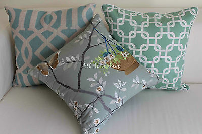 Art Vintage Aqua Teal Set Home Decor Cotton CUSHION COVER PILLOW CASE 18""